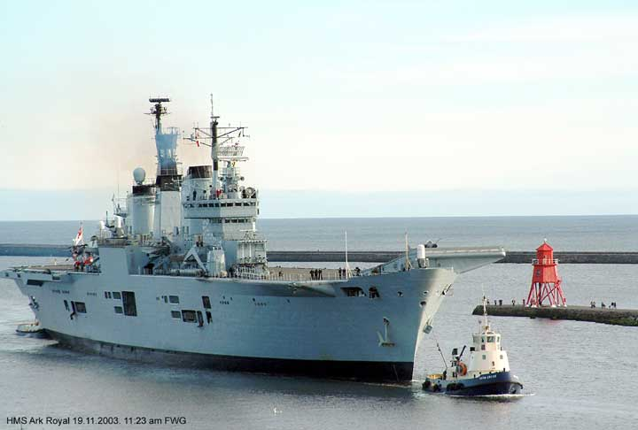 HMS Ark Royal returns to the river Tyne UK. 19 Nov 2003