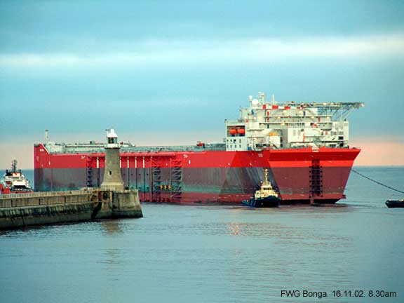 The gigantic Bonga, an oil and gas floating production platform enters the mouth of the river Tyne, Tynemouth.