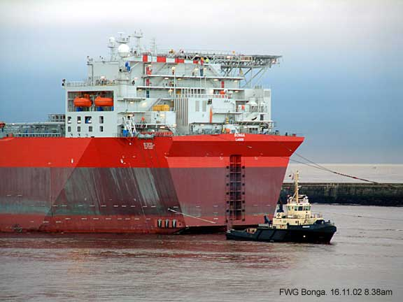 The Bonga giant, an oil and gas floating production platform enters the river Tyne, Tynemouth.