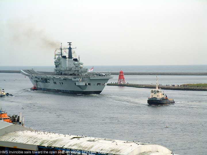 HMS Invincible passes the North Shields fish quay.