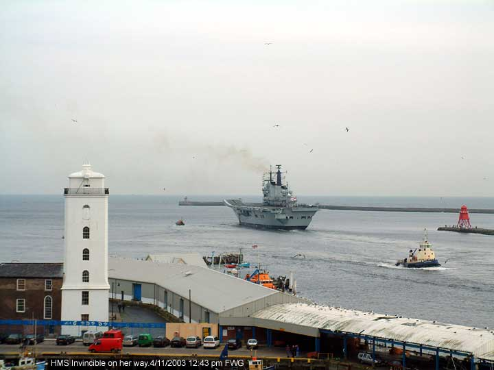 HMS Invincible almost there to the open sea off Tynemouth and South Shields 4/11/2003